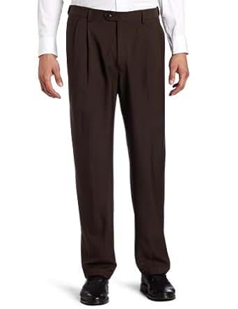 Haggar Men's Big-Tall Expandable Waistband Repreve Stria Plain Front Dress Pant, Brown,44x30