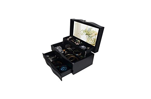 """Black 5.1"""" X 10.5"""" X 6.5 """" 3 Drawer Wooden Mirrored Jewelry Box Organizer Storage Hold Rack Makeup Cabinet For Women(Black) front-435776"""