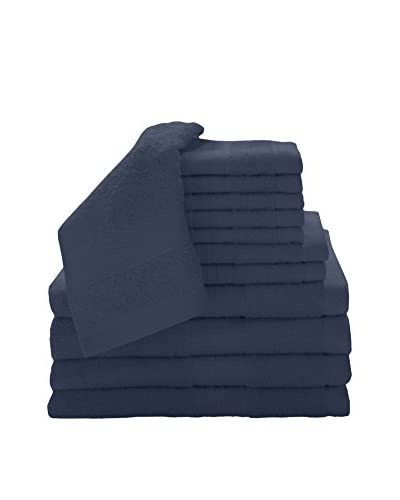 Luxury Home 12-Piece Super Plush Egyptian Cotton Towel Set, Cobalt