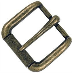 "Tandy Leather 1-1/4"" Solid Antique Brass Napa Roller Buckle 1642-09"
