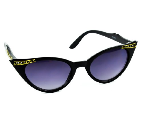 Black with Gold Trim Cat Eye Style Sunglasses with Rhinestones