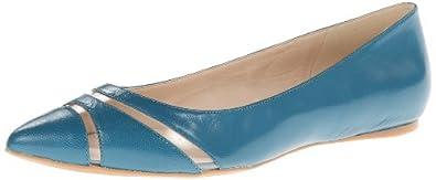 Nine West Women's Auro Ballet Flat,Aqua/Clear Leather,6.5 M US