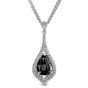 2.62ct Pear Cut Black Diamond & Diamond 14k Gold Pendant