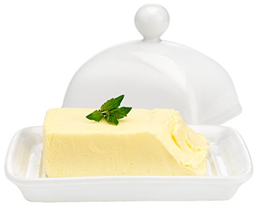 Superior Home N Gifts White Porcelain Butter Dish | Stylish Butter Dish With Lid | White Essentials (White Covered Butter Dish compare prices)