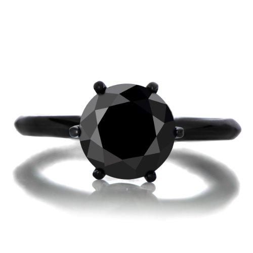 Enya'S 1.5Ct Simulated Black Diamond Engagement Ring