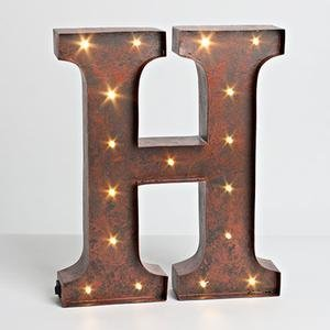 """12"""" - Rustic Brown - Metal - Battery Operated - Led - Lighted Letter """"H"""" 