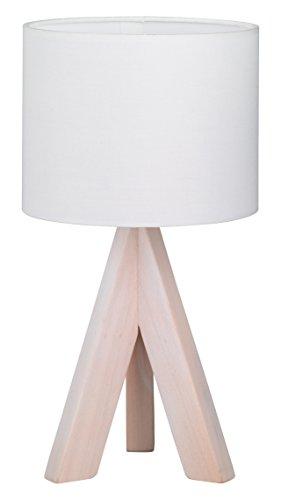 Reality-Leuchten-Tischleuchte-Fuss-dreibein-Holz-Stoffschirm-1x-E14-40-W-Hhe-31-cm-wei-R50741001