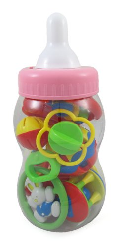 10 Piece Baby Rattle and Teether Toy Gift Set with Giant Baby Bottle Coin Bank