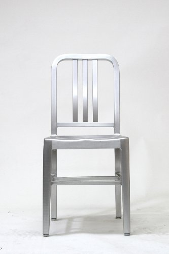 Modern Cafe Brushed Aluminum Side Dining Chair