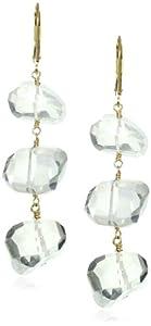 Dana Kellin Chunky Milky Quartz Triple Nugget Drop Earrings