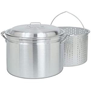 New Barbour International Bayou Classic 24 Qt Aluminum Stockpot Fryer Steamer Lid Small Holed Basket
