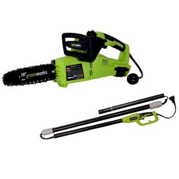 Sale!! Greenworks 20062 10-Inch 7 Amp Electric Pole Saw /Tree Pruner/Chain Saw  2-in-1 with 8-Foot P...