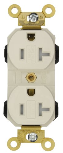 Leviton M5362-Sgt 20 Amp, 125 Volt, Wide Body Duplex Receptacle, Industrial Grade, Straight Blade, Self Grounding, Tamper-Resistant, Light Almond