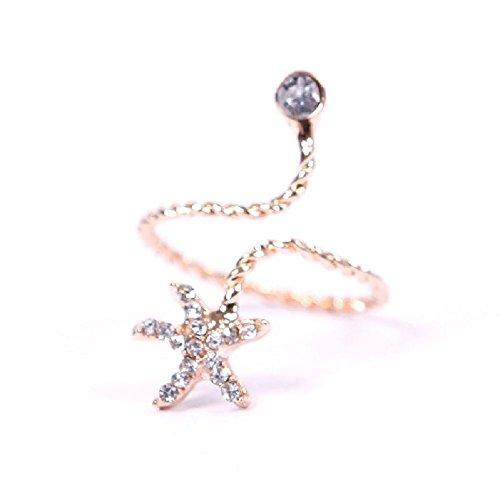 1Pcs New Korean Trendy Rhinestone Twisted Swirl Starfish Spiral Opening Ring Golden