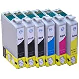 6 x (One Full Set Plus 2 Extra Blacks) of High Capacity Compatible Cartridges for use with Epson XP-30, XP-102, XP-202, XP-205, XP-302, XP-305, XP-402, XP-405 Printers by Delcomcomputers & Wantmoreink