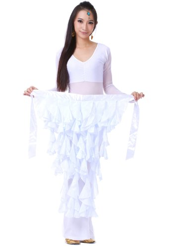 Dance Fairy White nine-tailed Fox Chiffon Leaf Skirt Belly dance Hip Scarf belt