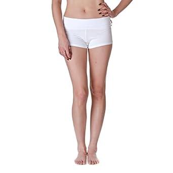 Active Basic Dance or Yoga Fold Down Hot Shorts, Classic White, Size Large