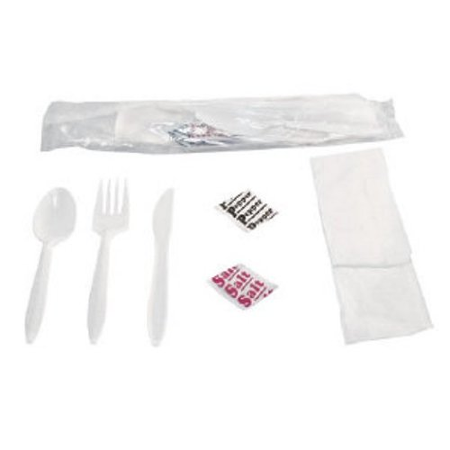 Baily 6KITMW Medium-Weight Fork, Knife, Spoon, Napkin, Salt, and Pepper Cutlery Kit (Case of 250)