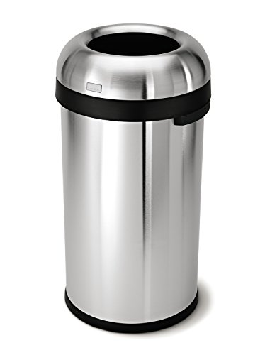simplehuman Bullet Open Trash Can, Commercial Grade, Stainless Steel, 60 L / 15.9 Gal (Simplehuman Trash Can Open compare prices)