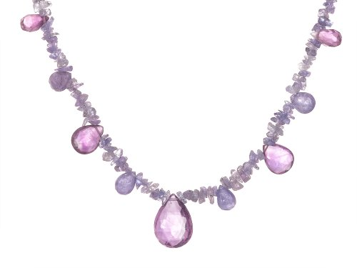 Sterling Silver Tanzanite and Amethyst Briolette Necklace, 18""