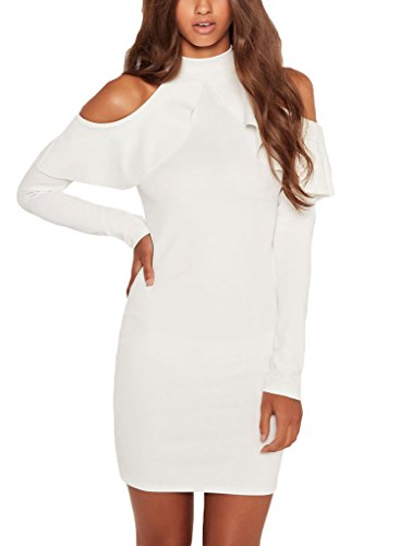 Annflat Women's Ruffle Cold Shoulder Long Sleeve Cocktail Party Dress Medium White