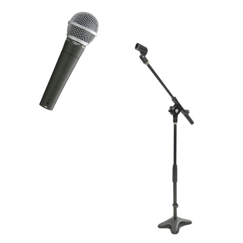 Pyle Mic And Stand Package - Pdmic58 Professional Moving Coil Dynamic Handheld Microphone - Pmks7 Compact Base Microphone Stand