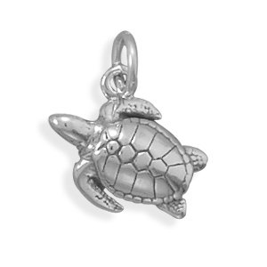 Oxidized Sterling Silver Sea Turtle Charm