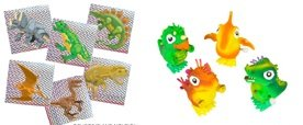 FOR THE DINOSAUR LOVERS - ENJOY These Four Dinosaur Wind UP Hoppers along with 72 Radiant Prism Stickers - 1