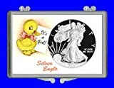 """3″ x 2″ Snaplock Silver Eagle Coin Holder for """"It's A Girl! – Duck Theme"""" (Without Coin)"""