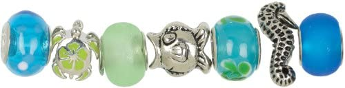 Teal Ocean Mix Trinkettes Glass And Metal Beads - 7 Ct - Teal Ocean Mix Trinkettes Glass And Metal B