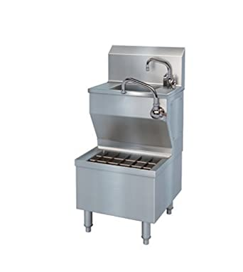 HSIUS Brushed Stainless Steel Hand Sink with Integral Utility Sink, 30 ...