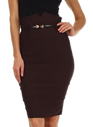 Sakkas 3741 High Waist Stretch Pencil Skirt with Metallic Bow Skinny Belt - Brown - Small