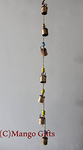 Decorative String of 7 Metal Vintage Indian Style Wall Hanging Bells