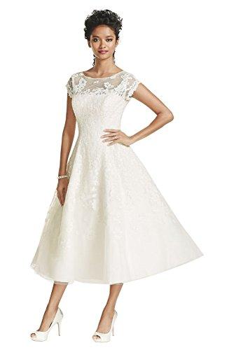 eaa570073a7 Lace Short Oleg Cassini Cap Sleeve Illusion Wedding Dress Style CMK513