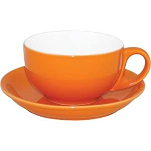 Coloured porcelain crockery set cappuccino cup and saucer orange 10oz box 12 funky and - Funky espresso cups ...