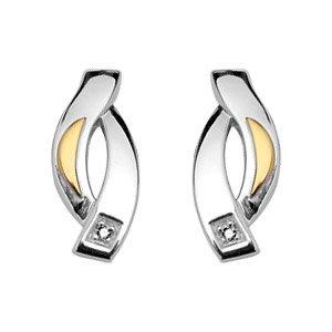 helios Bijoux Damen-Ohrringe versilbert rhodiniert & 18 k (750) Gold Diamant/NEU/FranceBijoux günstig kaufen