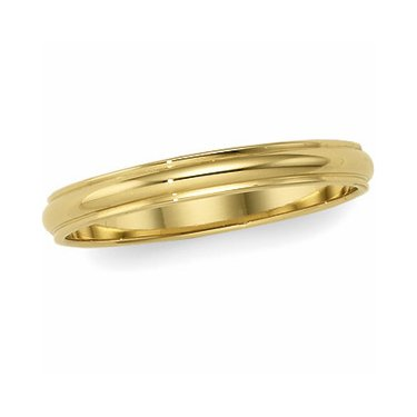 10K Yellow Gold, Edged Half Round Wedding Band 2MM (sz 7)