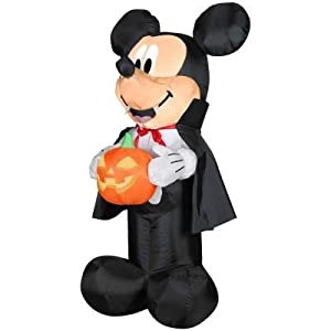 Halloween Decoration Lawn Yard Inflatable Airblown Disney Vampire Mickey Mouse And Pumpkin 3.5' Tall by INFLATABLE