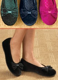 Cheap Velour Ballerina Slippers (B002TXNP0I)