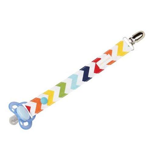 Boys Pacifier Clip in Multi Colored Stripes - 1
