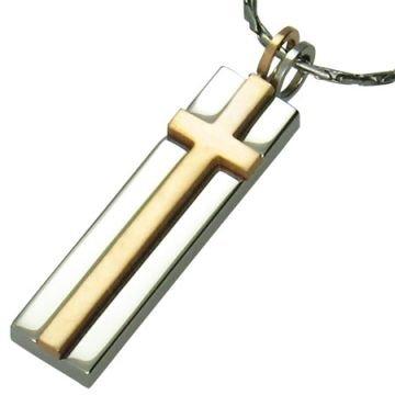 Floating Copper Cross on Stainless Steel Pendant