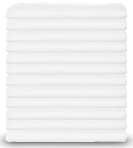 Standard-Size-White-Pillowcases-Bulk-Pack-T-200-Heavy-Weight-Quality-PolyCotton-Set-of-12