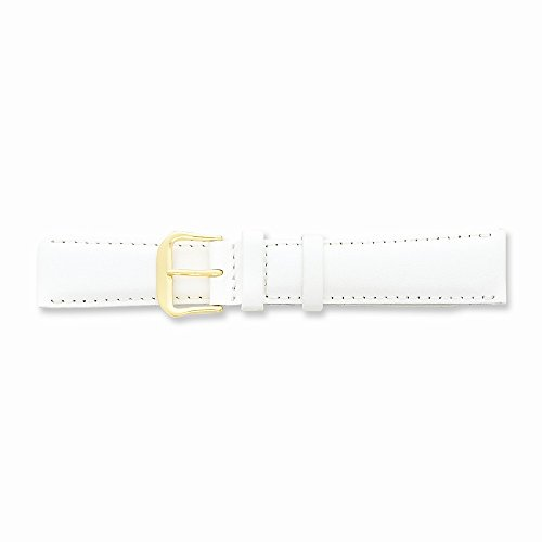 15Mm White Smooth Leather Gold-Tone Buckle Watch Band