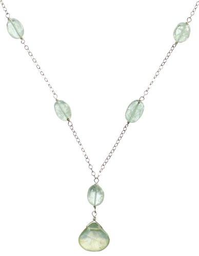 Sterling Silver Linked Aquamarine and Prehnite Necklace, 17