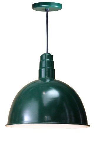 Anp Lighting D618-42-200Glfr-Gup-42-Rbhc-42Wpl-42 Forest Green Deep Bowl Rlm Spun Aluminum Deep Bowl Industrial Barn Light With Cord Outdoor Pendant Mount Hi Bay/Low Bay