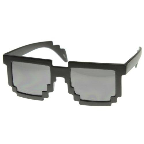 Pixelated 8-Bit Black Sunglasses CPU Gamer Geek Novelty Glasses (Matte Black)