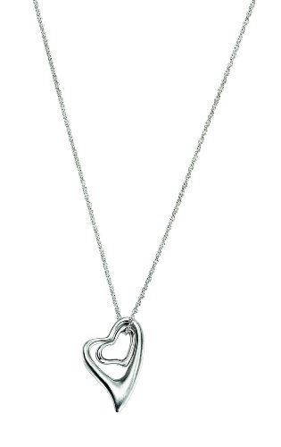 Element Sterling Silver, Ladies', N2922, Abstract Double Heart Necklace, Length 45cm + 5cm Extender