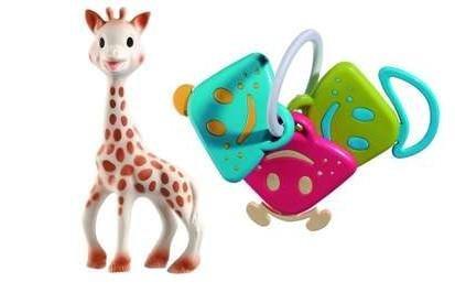 Imagen de Sophie la jirafa y Chan Pie Gnon Sonajero llaves con Baby Bonus Dainty reutilizable bolsa Bonus Bagwith bebé reutilizable Dainty