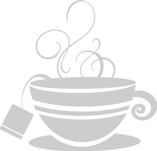 Wall Décor Plus More Wdpm2111 Striped Teacup With Steam Kitchen Wall Art Vinyl Sticker Decal, 12X11.5-Inch, Warm Gray