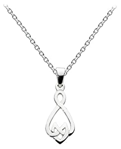 Heritage Womens Sterling Silver Celtic Small Open Knot Necklace 9235HP, 18""